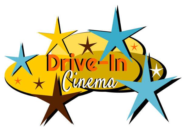 drive in movie retro lockup logo